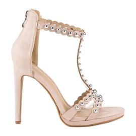 Eleganckie beżowe sandałki beżowy