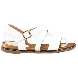 Bello Star Płaskie sandały na sprzączkę białe
