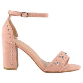 Wygodne sandały na słupku różowe