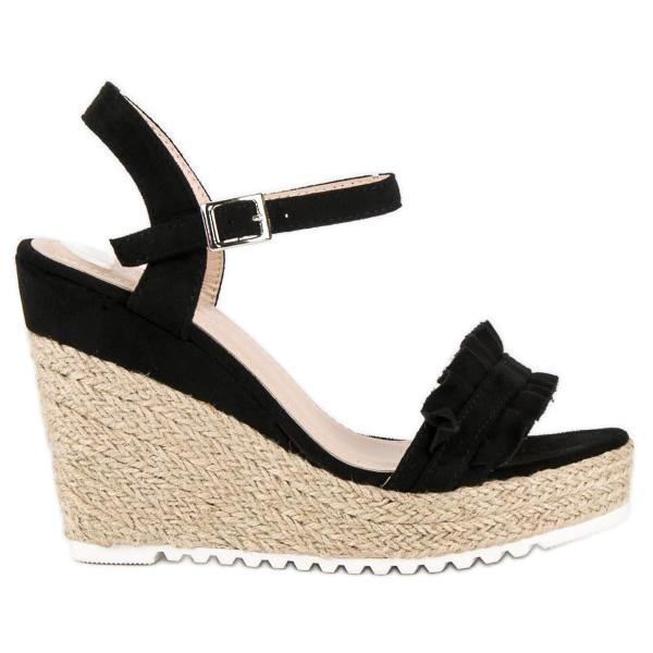 Bello Star Czarne sandały espadryle