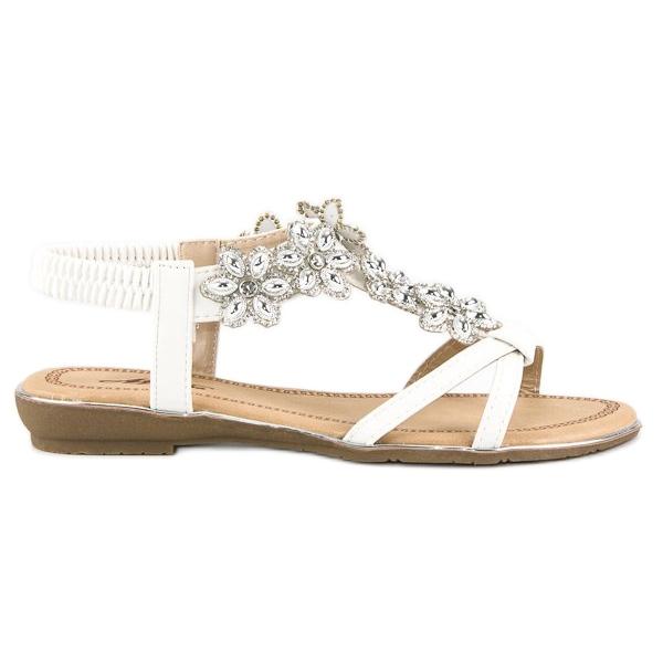 Eleganckie płaskie sandałki białe