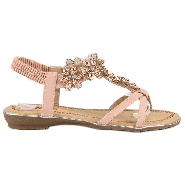 Eleganckie płaskie sandałki różowe