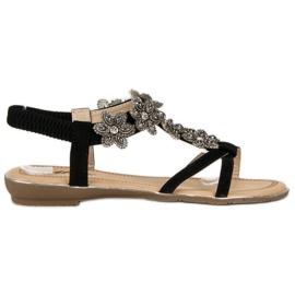 Eleganckie płaskie sandałki czarne