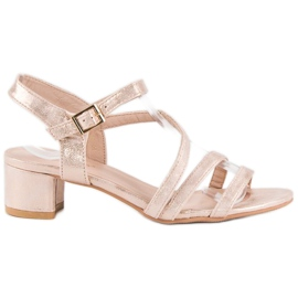 Ideal Shoes Sandały na płaskim obcasie różowe