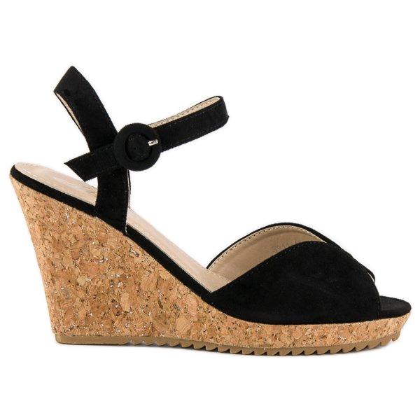 Sandały na korkowej koturnie czarne