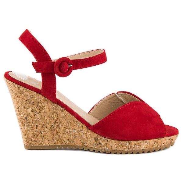 Sandały na korkowej koturnie czerwone