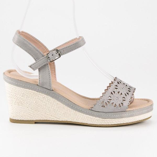 Ideal Shoes Szare espadryle na koturnie