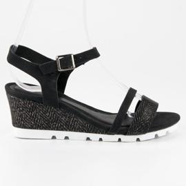 Ideal Shoes Czarne Sandały Na Koturnie