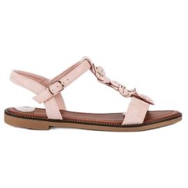 L. Lux. Shoes Zamszowe płaskie sandałki różowe