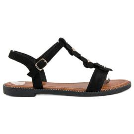 L. Lux. Shoes Zamszowe płaskie sandałki czarne