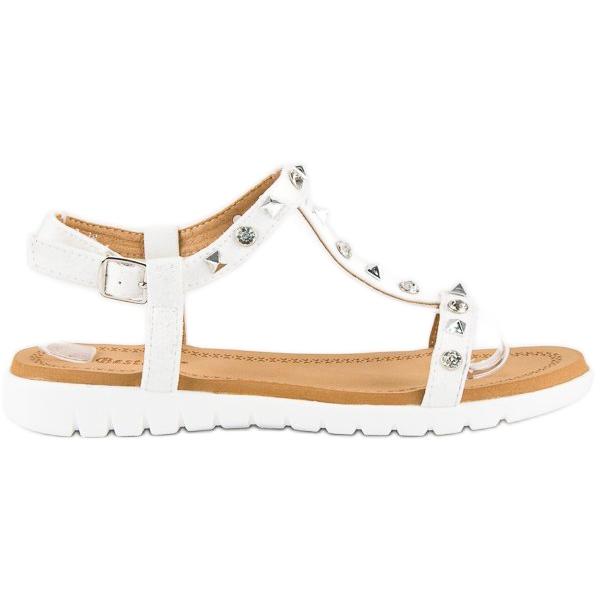 Bestelle Wygodne sandały płaskie białe