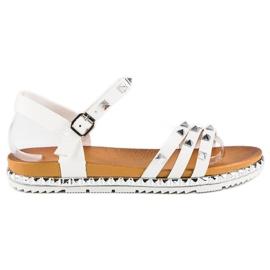 Anesia Paris białe Rockowe Płaskie Sandały