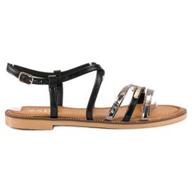 SDS Eleganckie płaskie sandały czarne