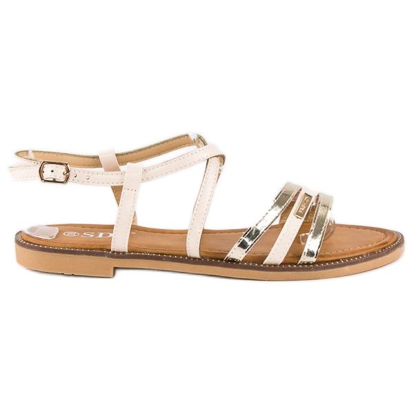 SDS Eleganckie płaskie sandały brązowe