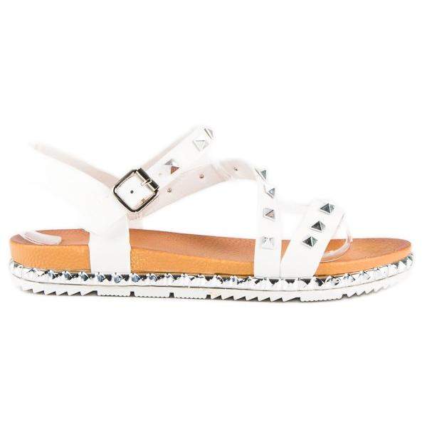 Anesia Paris Białe Sandały Z Ćwiekami