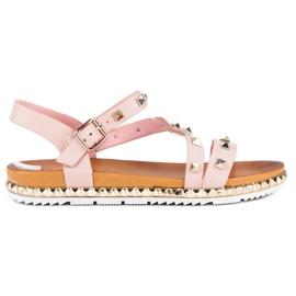 Anesia Paris Różowe Sandały Z Ćwiekami