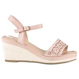 Ideal Shoes Beżowe espadryle na koturnie beżowy