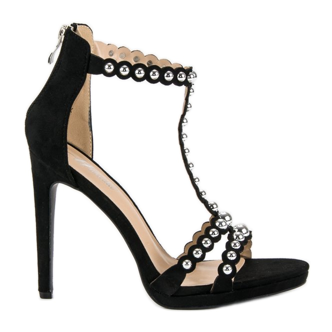 Eleganckie czarne sandałki