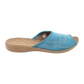 Befado obuwie damskie kapcie klapki 254d010 niebieskie