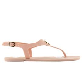 Sandałki japonki meliski KM101 D. beige różowe