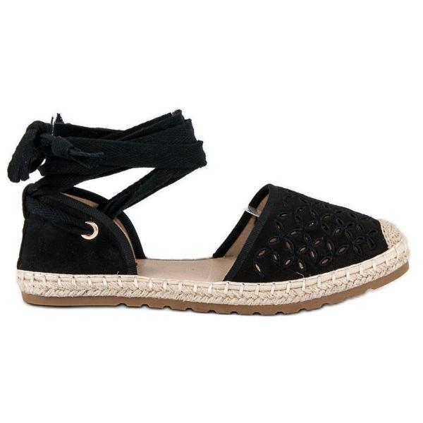 Sweet Shoes Wiązane espadryle czarne