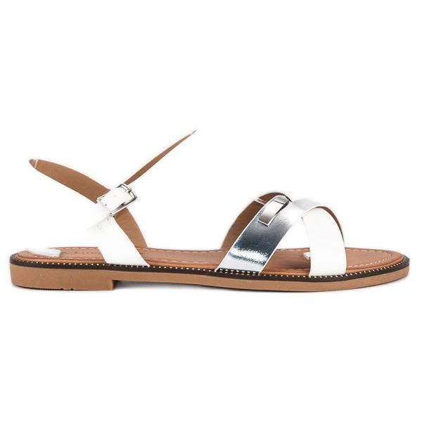 L. Lux. Shoes Stylowe Białe Sandały szare