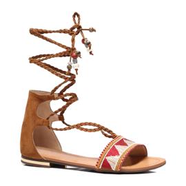 Vices Płaskie sandały damskie brązowe