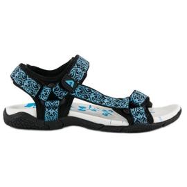 American Club Tekstylne sandały na rzep american niebieskie