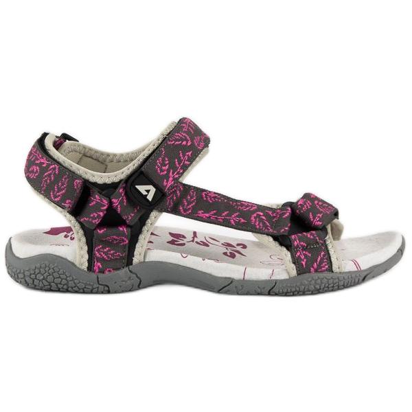 American Club Tekstylne sandały na rzep american różowe