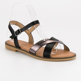 L. Lux. Shoes Stylowe Czarne Sandały