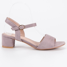 Ideal Shoes Zamszowe sandały na niskim obcasie fioletowe