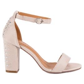 Bestelle Eleganckie sandały na słupku brązowe