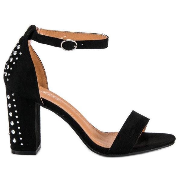 Bestelle Eleganckie sandały na słupku czarne