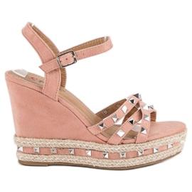 Seastar Zamszowe sandały espadryle różowe