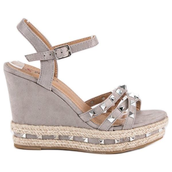 Seastar Zamszowe sandały espadryle szare