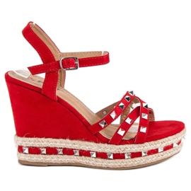 Seastar Zamszowe sandały espadryle czerwone