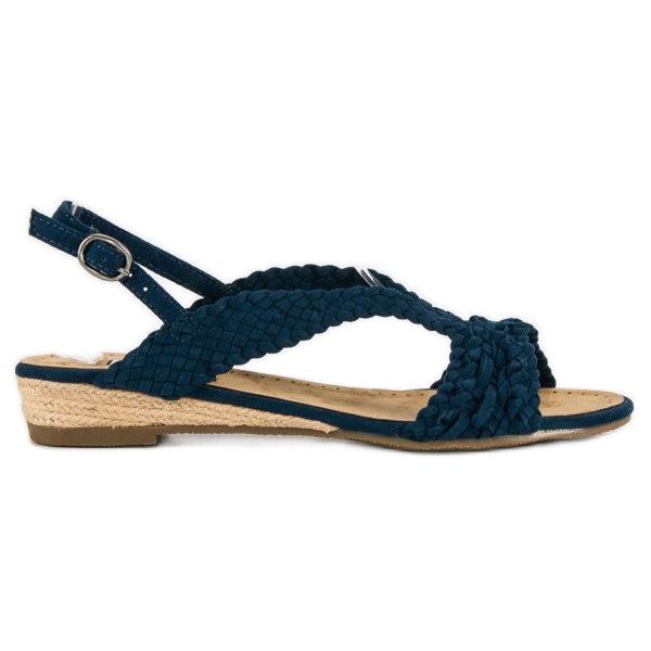 Corina Granatowe tekstylne sandały niebieskie