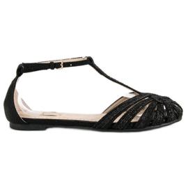Corina Czarne sandały z brokatem