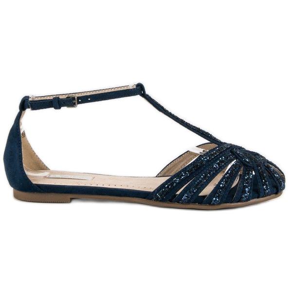 Corina Granatowe sandały z brokatem niebieskie