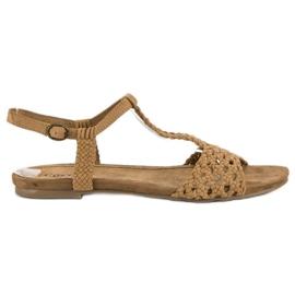 Corina Materiałowe sandały płaskie brązowe
