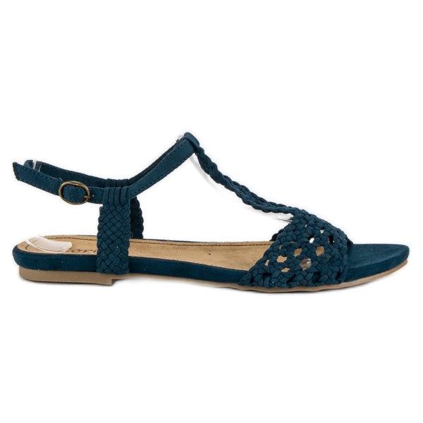 Corina Materiałowe Sandały Płaskie niebieskie