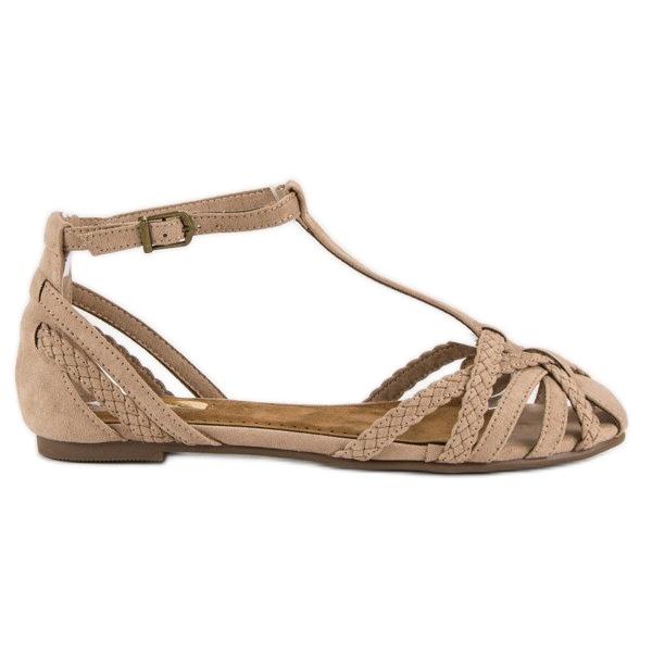Corina Plecione płaskie sandały brązowe