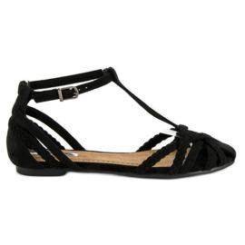 Corina Plecione płaskie sandały czarne
