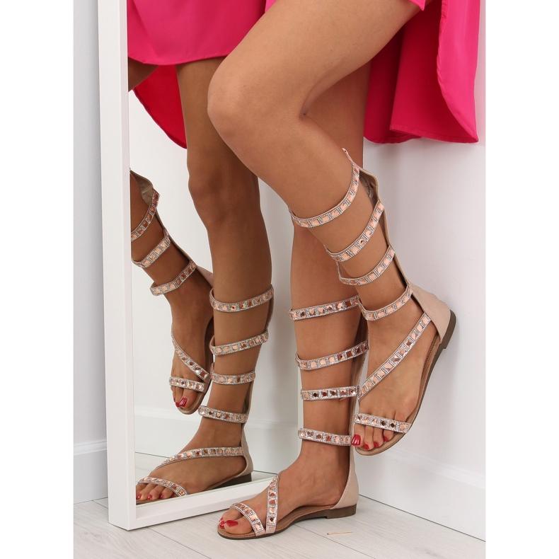 Sandałki gladiatorki rzymianki różowe JL59 Champagne
