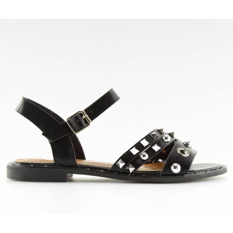 Sandałki na płaskiej podeszwie czarne 99-19