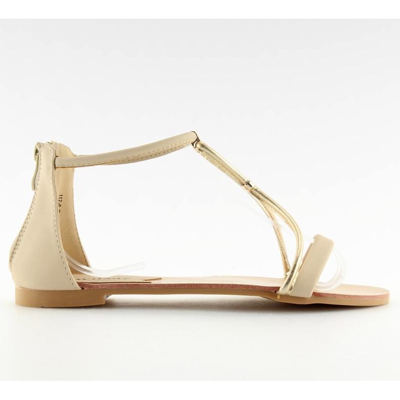 Sandałki damskie beżowe 117-6 beige beżowy