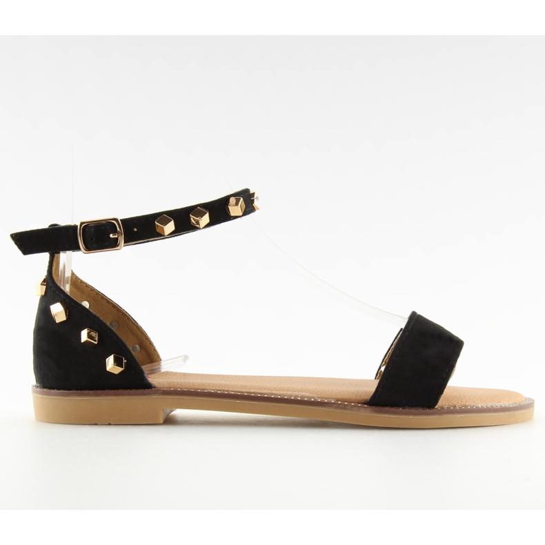 Sandałki z ćwiekami czarne 117-11 black