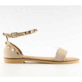 Sandałki z ćwiekami beżowe 117-11 beige beżowy