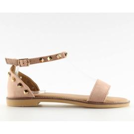 Sandałki z ćwiekami różowe 117-11 pink