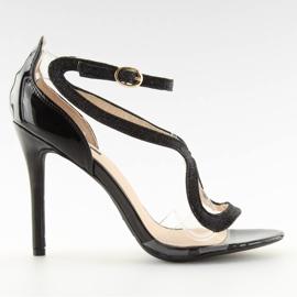 Sandałki na szpilce czarne 1443 black